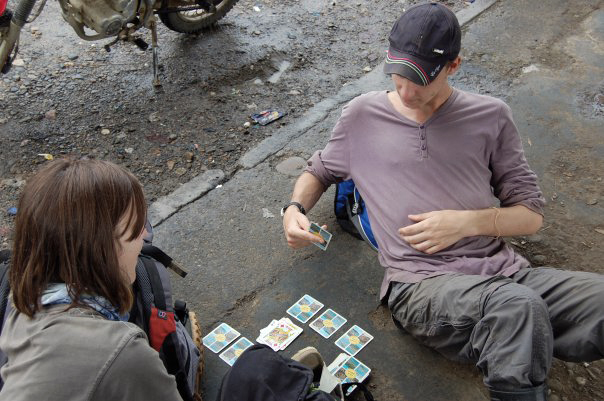 Playing Cards at Petrol Station