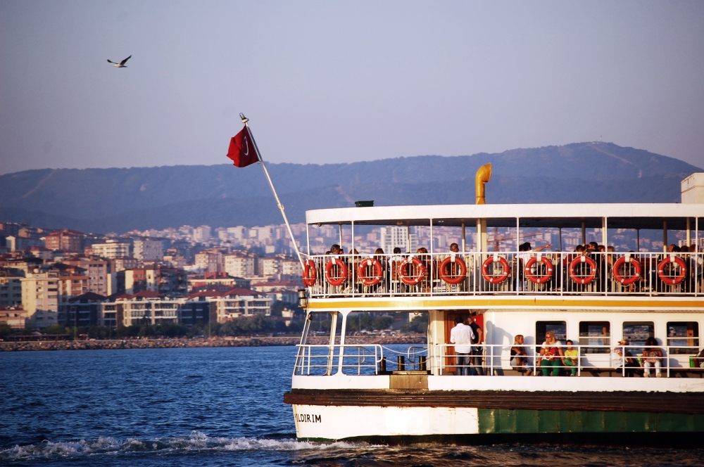 Ferry on Bosphorous Strait in Istanbul