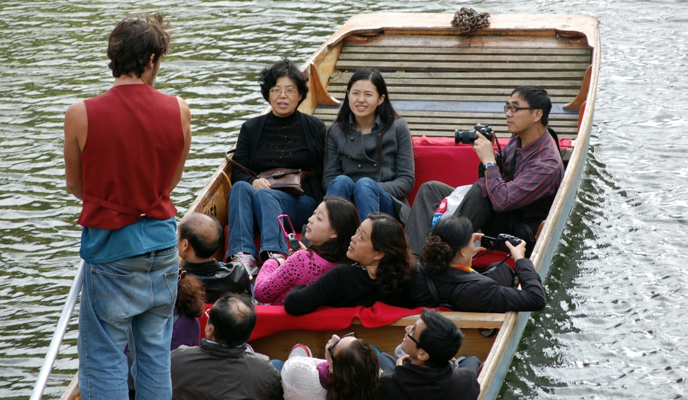Asians on Punts in Cambridge