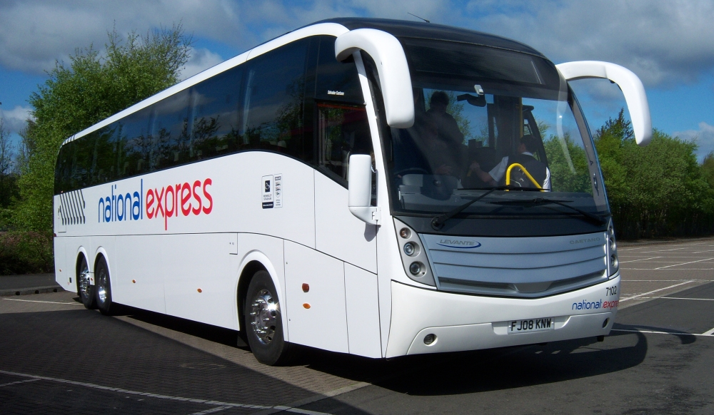 National Express Coach in Car Park