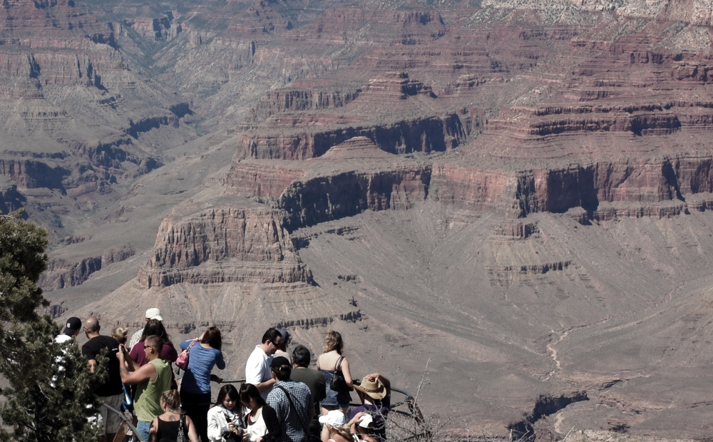 Tourists at Grand Canyon South Rim Lookout