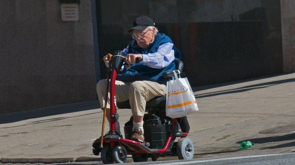 Old Man on Scooter