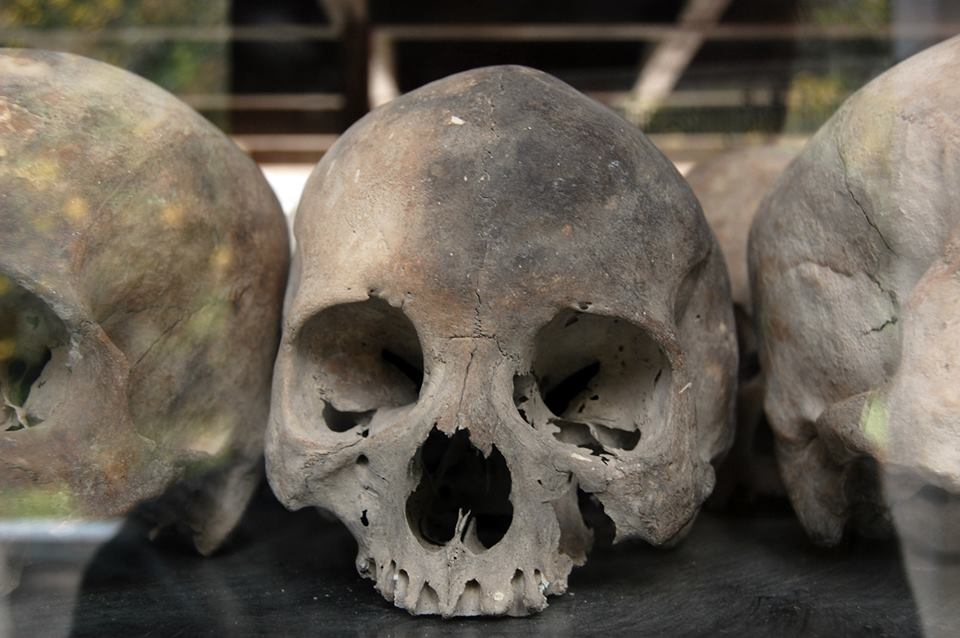 Skulls inside Killing Fields Stupa