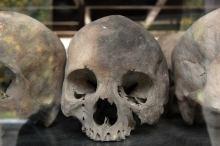Skulls inside Killing Fields Stupa