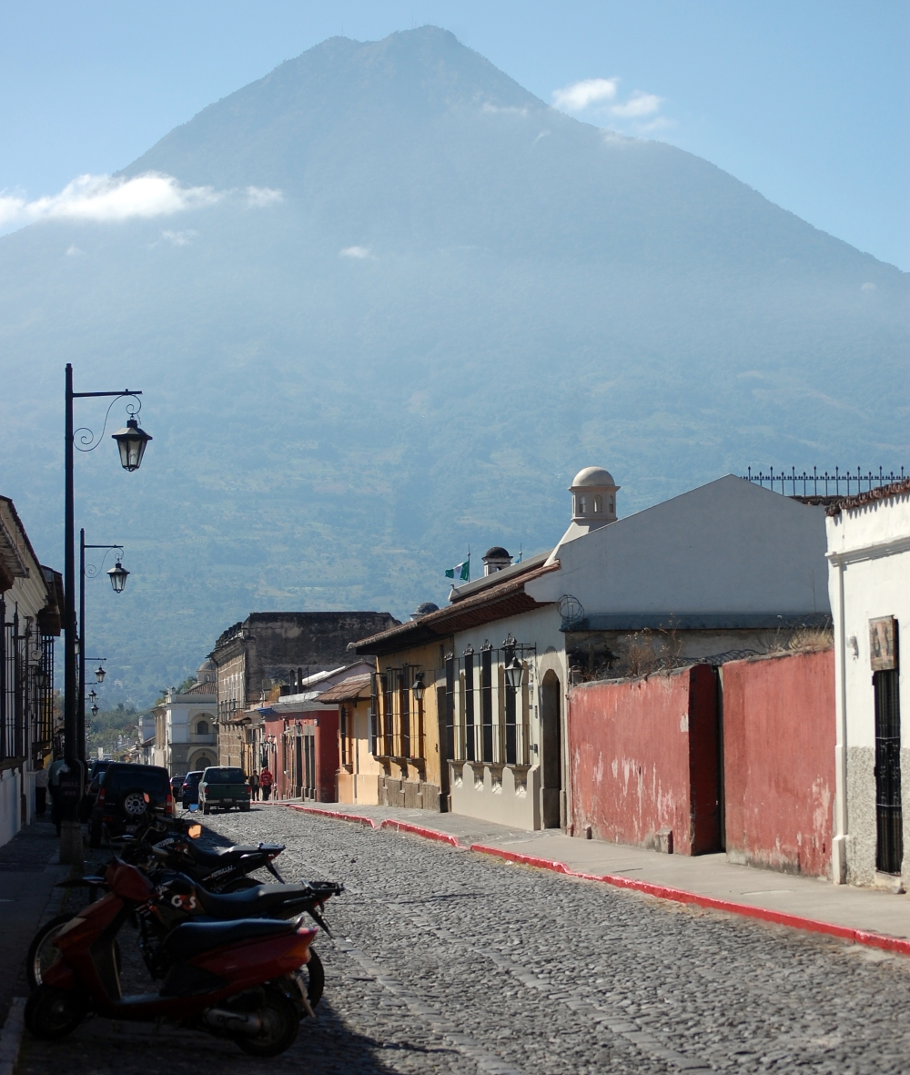 Antigua Street with Volcano