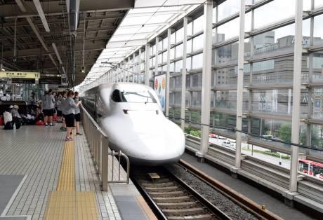 Japanese bullet train in station